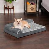 FurHaven Two-Tone Deluxe Chaise Orthopedic Dog Bed w/Removable Cover, Stone Gray, Medium