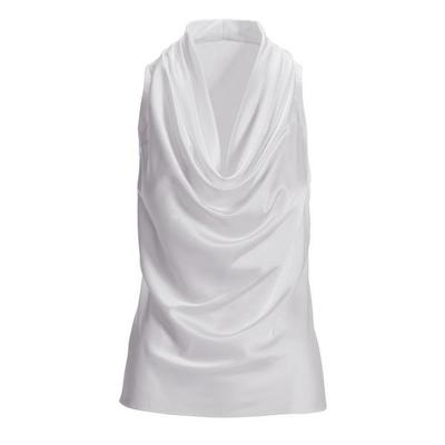 Boston Proper - Marilyn Cowl-Neck Blouse - Pure White - PURE WHITE - X SMALL