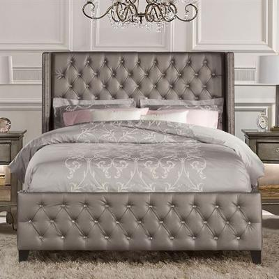 Smyrna Upholstered Bed Frame Gray, King, Gray