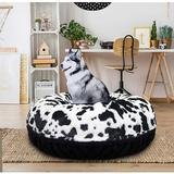 Bessie + Barnie Signature Extra Plush Faux Fur Animal Print Bagel Dog & Cat Bed, Black Puma/Spotted Pony, X-Small