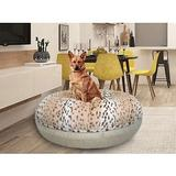 Bessie + Barnie Signature Extra Plush Faux Fur Animal Print Bagel Dog & Cat Bed, Snow Leopard/Blondie, Large