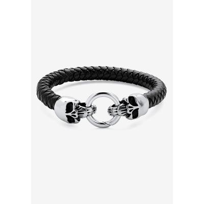 """PalmBeach Jewelry Stainless Steel Double Skull Bangle Bracelet 9"""" in Stainless Steel (Size 0) Men's Big & Tall"""