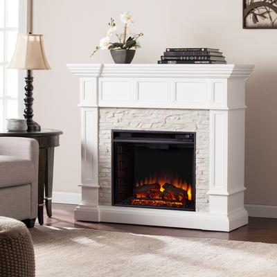 Merrimack Corner Convertible Electric Fireplace in White by BrylaneHome