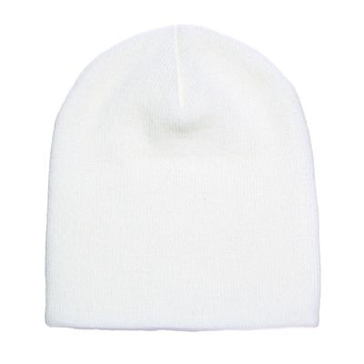 Yupoong 1500 Adult Knit Beanie Hat in White 1500KC