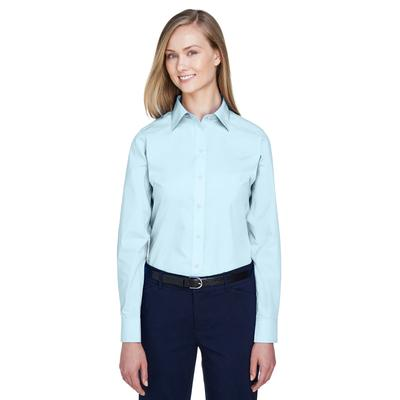 Devon & Jones D620W Women's Crown Woven Collection Solid Broadcloth T-Shirt in Crystal Blue size 3XL