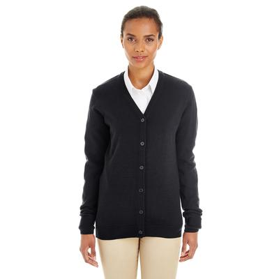 Harriton M425W Women's Pilbloc V-Neck Button Cardigan Sweater in Black size 3XL | Acrylic Blend