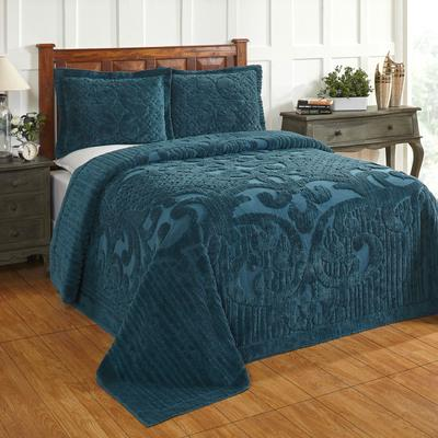 Ashton Collection Tufted Chenille Bedspread, Size Full/Double in Teal by Better Trends