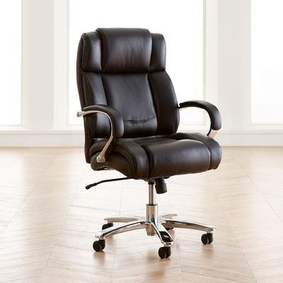Extra Wide Chrome Finish Office Chair (Black) by Brylane Home