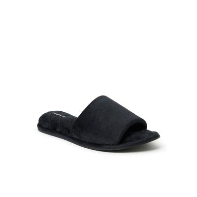 Wide Width Women's Beatrice Microfiber Velour Side Gore Slide by Dearfoams in Black (Size MEDIUM)