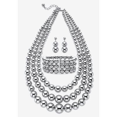 Plus Size Women's Silver Tone Necklace Set by PalmBeach Jewelry in White (Size 0)