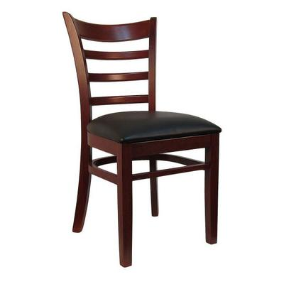 H&D Commercial Seating 8641 Dining Chair w/ Ladder Back - Black Vinyl Seat, Dark Mahogany Frame on Sale