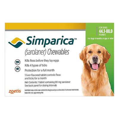 Simparica Flea & Tick Chewables For Dogs 44.1-88 Lbs (Green) 3 Pack