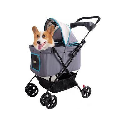 ibiyaya - ibiyaya Convertible Awning Double Dog & Cat Stroller, Gray