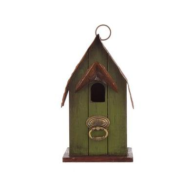 Glitzhome Rustic Garden Distressed Solid Wood Decorative Bird House, 10-in