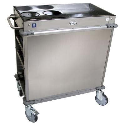Cadco BC-2-LST Mobile Beverage Service Cart w/ (4) Shelves & (3) Drawers, Stainless Steel