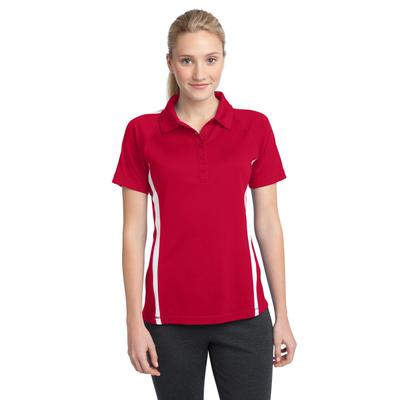 Sport-Tek LST685 Women's PosiCharge Micro-Mesh Colorblock Polo Shirt in True Red/White size XS | Polyester