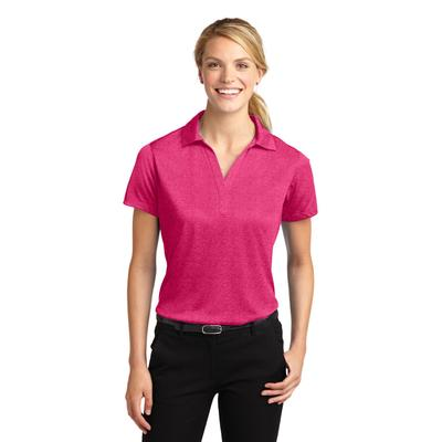 Sport-Tek LST660 Women's Heather Contender Polo Shirt in Pink Raspberry size 3XL | Polyester