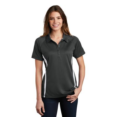Sport-Tek LST685 Women's PosiCharge Micro-Mesh Colorblock Polo Shirt in Iron Grey/White size XXL | Polyester