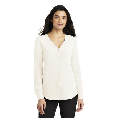 Port Authority LW700 Women's Long Sleeve Button-Front Blouse in Ivory Chiffon size 3XL | Polyester