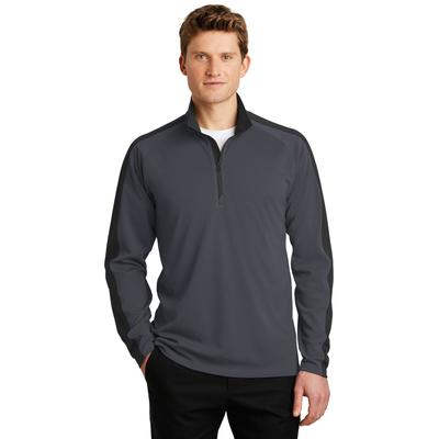 Sport-Tek ST861 Sport-Wick Textured Colorblock 1/4-Zip Pullover T-Shirt in Iron Grey/Black size XS | Polyester