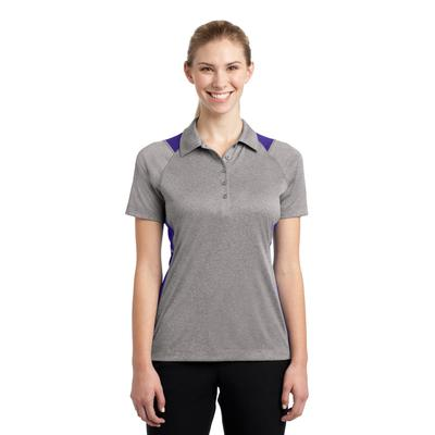 Sport-Tek LST665 Women's Heather Colorblock Contender Polo Shirt in Vintage Heather/Purple size Large | Polyester