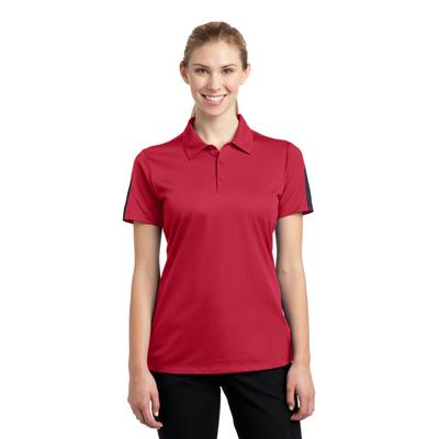 Sport-Tek LST695 Women's PosiCharge Active Textured Colorblock Polo Shirt in True Red/Grey size XS | Polyester