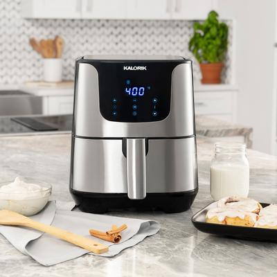 Stainless Steal XL Smart Fryer Pro with Trivet in Stainless Steel by Kalorik