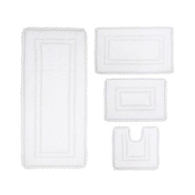 "Casual Elegance 4-Pc. Bath Mat Set, Size 4"" Rug Set in White by Home Weavers Inc"