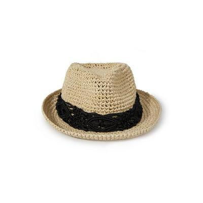 Boston Proper - Crochet Trim Fedora Hat - Black - One Size