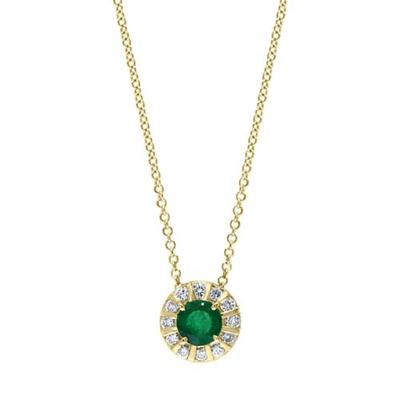 Effy Yellow Gold 1/4 ct. t.w. Diamond and 3/4 ct. t.w. Emerald Pendant Necklace in 14K Yellow Gold