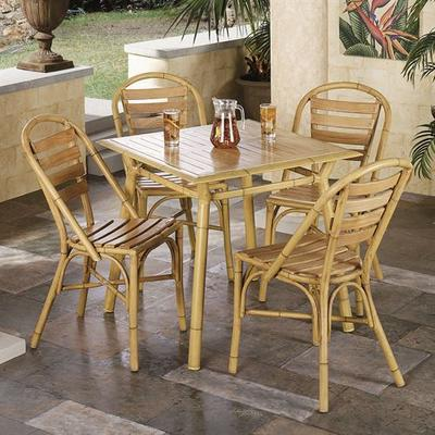 Mandalay Dining Table and Chairs Bamboo Set of Five, Set of Five, Bamboo