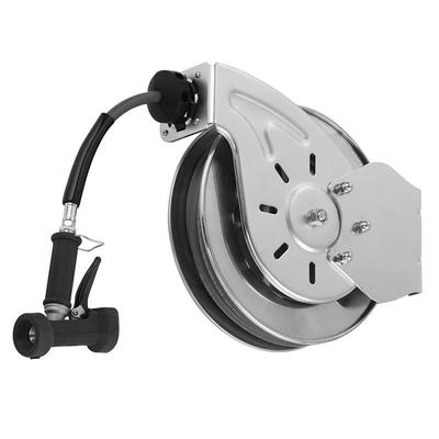 T&S B-7132-02 Hose Reel, 35 ft, 3/8 Diameter, Rear Water Gun, Stainless Steel on Sale