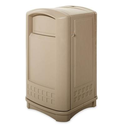 Rubbermaid FG396400BEIG 50 gal Outdoor Decorative Trash Can - Plastic, Beige on Sale