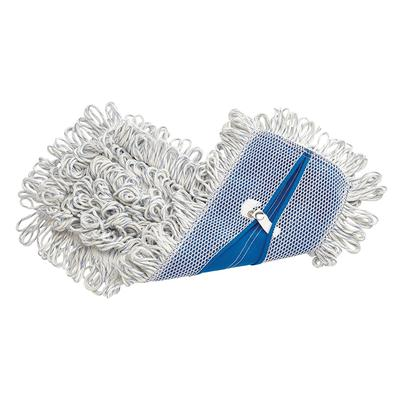 Rubbermaid FGE05200WH00 Finish Mop - Looped End, Rayon/Synthetic Blend, White/Blue on Sale