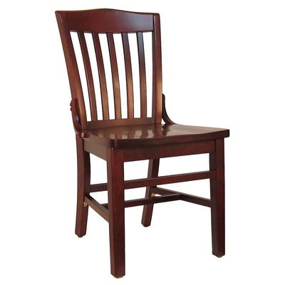 H&D Commercial Seating 8235 Dining Chair w/ Vertical Back - Solid Wood Seat, Dark Mahogany Frame on Sale