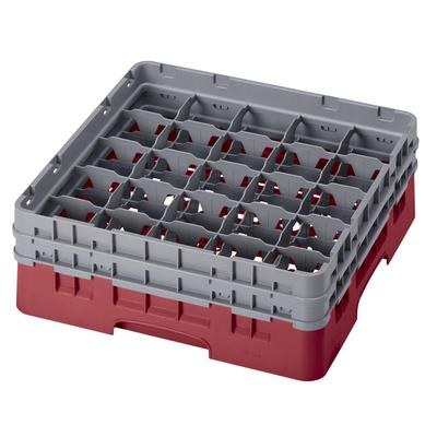Cambro 25S434416 Camrack Glass Rack - (2)Extenders, 25 Compartment, Cranberry on Sale