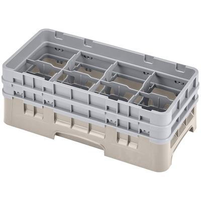 Cambro 8HS434184 Camrack Glass Rack - Half Size, (2)Extenders, 8 Compartments, Beige on Sale