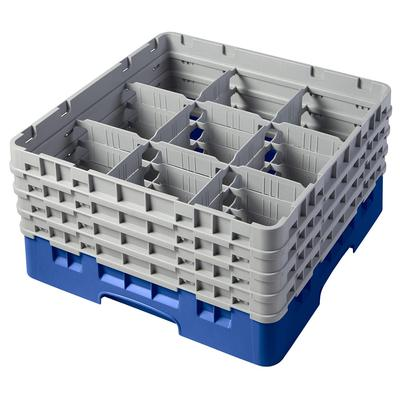Cambro 9S800168 Camrack Glass Rack - (4)Extenders, 9 Compartments, Blue on Sale