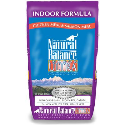 Natural Balance Indoor Ultra Chicken Meal, Brown Rice, Oat Groats, Salmon Meal & Pea Fiber Dry Cat Food, 6 lbs.