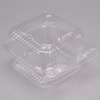 """Durable Packaging PXT-11600 Duralock 5 1/4"""" x 5 5/8"""" x 3 1/4"""" Deep Clear Hinged Lid Plastic Container - 500/Case"""