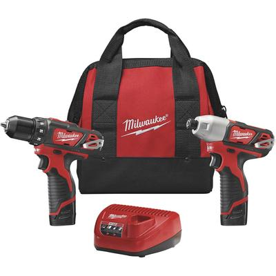 Milwaukee M12 Lithium-Ion Cordless Power Tool Set - 3/8 Inch Drill & 1/4 Inch Hex Impact Driver, With 2 Batteries, Model 2494-22, Fatigue