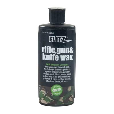Non-abrasive, silicone-free protectant shields firearms and knives from rust and the corrosive effects of powder residue, fingerprints, water spots, tree sap, blood, and more. Rifle, Gun & Knife Wax contains a unique blend of Brazilian Carnauba wax and...