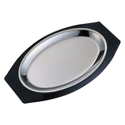 Service Ideas RO117BLC Complete Platter Set w/ Oval Handle, Stainless Insert, Black on Sale