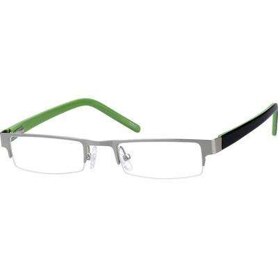 Zenni Boys Rectangle Prescription Glasses Silver Plastic Frame