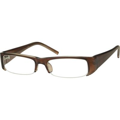 Zenni Women's Rectangle Prescription Glasses Half-Rim Brown Plastic Frame