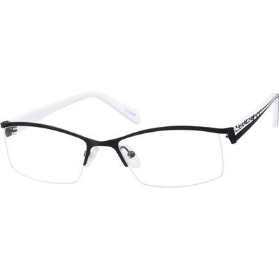 Zenni Women's Rectangle Prescription Glasses Half-Rim Black Plastic Frame
