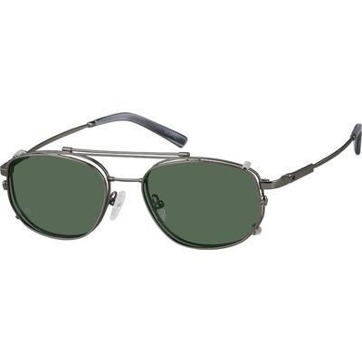 Zenni Men's Aviator Prescription Glasses Gray Memory Titanium Frame