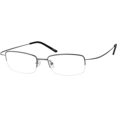 Zenni Men's Lightweight Rectangle Prescription Glasses Half-Rim Gray Stainless Steel Frame