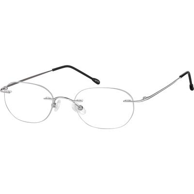 Zenni Lightweight Rimless Prescription Glasses White Stainless Steel Frame