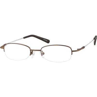 Zenni Lightweight Oval Prescription Glasses Half-Rim Brown Frame Memory Titanium 317715